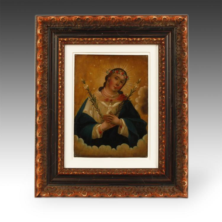 Retablo or Devotional Painting, Framed