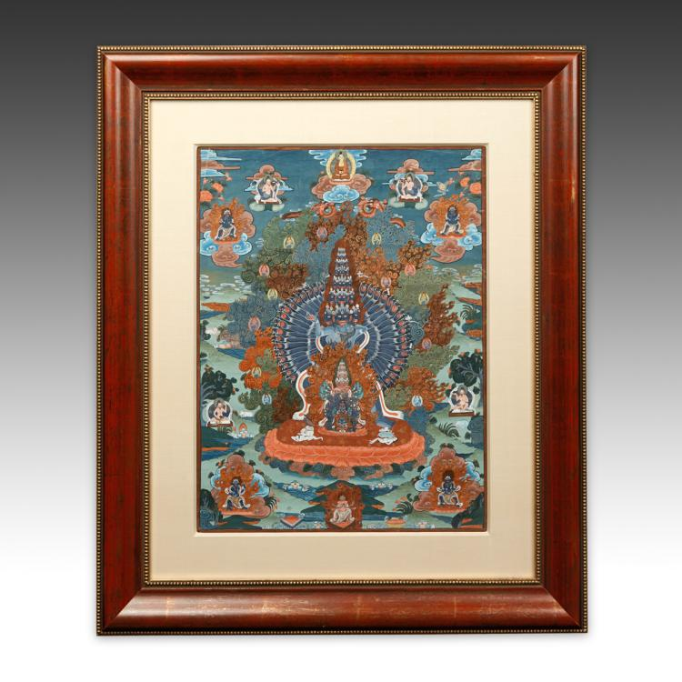 Thangka or Devotional Painting, Framed