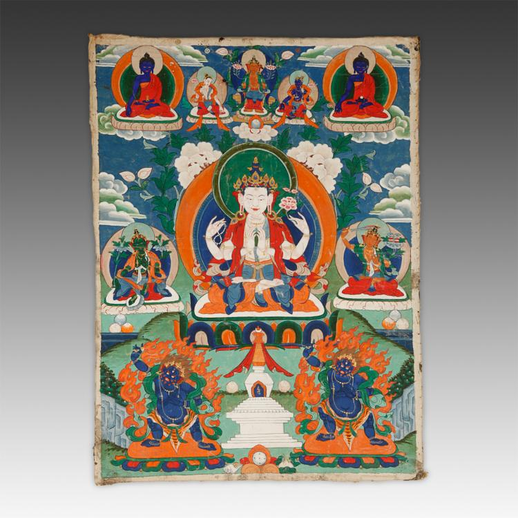 Thangka or Devotional Painting Depicting Avalokiteshvara