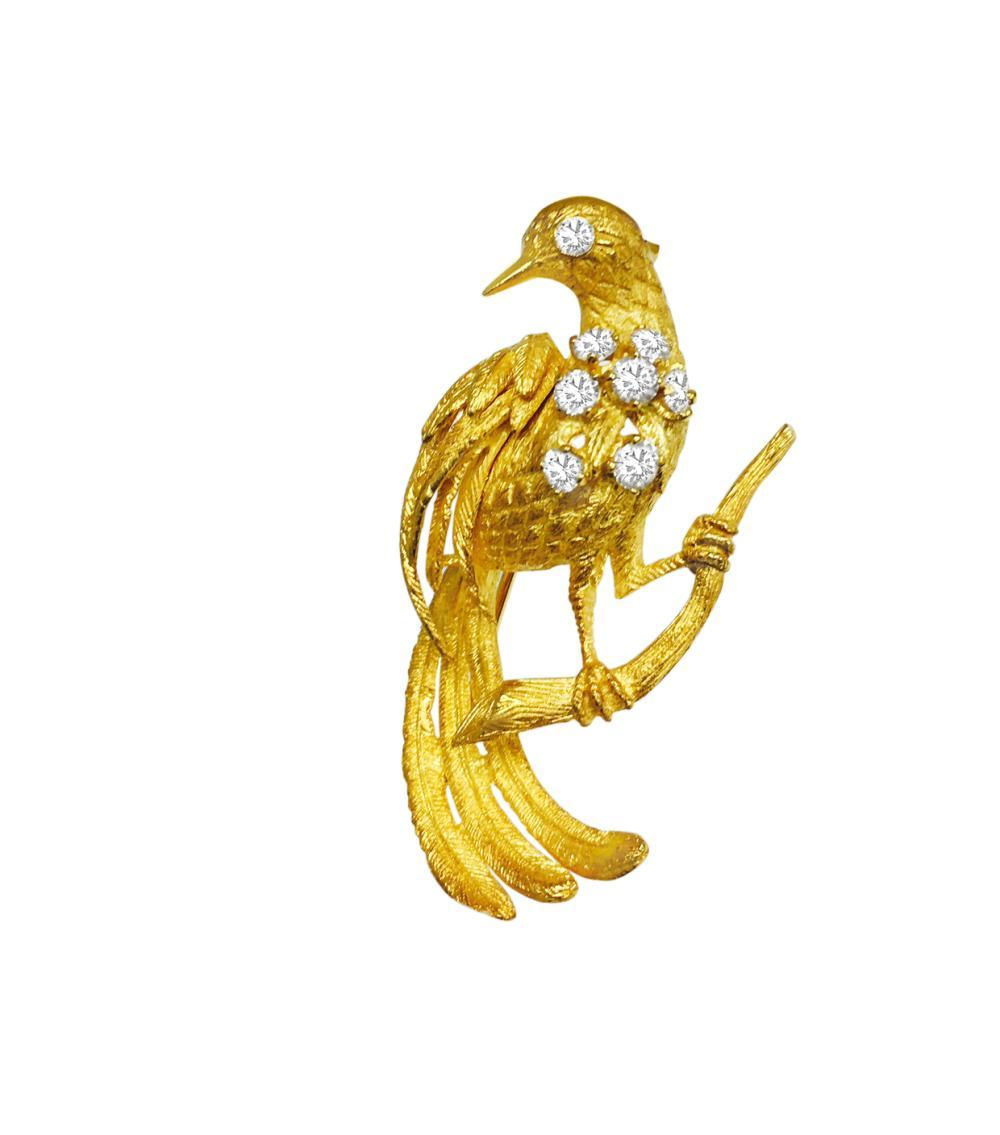 2ab24d9a9 18K Yellow Gold, VVS Diamond Vintage Bird Pin