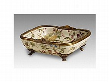 Flowers pattern ceramic inlaid copper compote