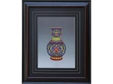 Bao phase flower embroidery reward bottle (Suzhou Embroidery with Flowers Vase Pattern)