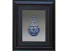 Blue embroidery pattern Lotus Vase (Suzhou Embroidery with Branch Lotus Vase Pattern)