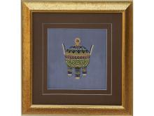 Embroidery geometric pattern Ding (Suzhou Embroidery with Geometrical Tripod Pattern)