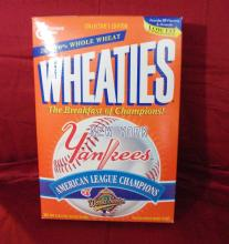 "1996 Vintage ""New York Yankees American League Baseball Champs"" Unopened General Mills Wheaties Cereal Box."