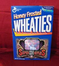"1996 Vintage ""Troy Aikman, Super Bowl XXVII"" Unopened General Mills Wheaties Cereal Box with Hologram."
