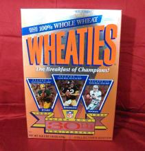 "1996 Vintage ""Super Bowl 30th Anniversary, 1967 to 1996 "" Unopened General Mills Wheaties Cereal Box."