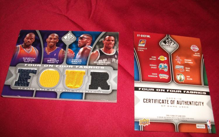 2009 GAME USED PATCH UPPER-DECK BASKETBALL CARD 42/99 BRYANT GRANT ROBINSON SHAQ IVERSON MUTOMBO BELL ALLEN