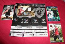 Derek Carr Autographed Rookie Card RC 33/99 Topps, Plus NFL Debut 2014 Tickets! And Bonus Patch Cards!