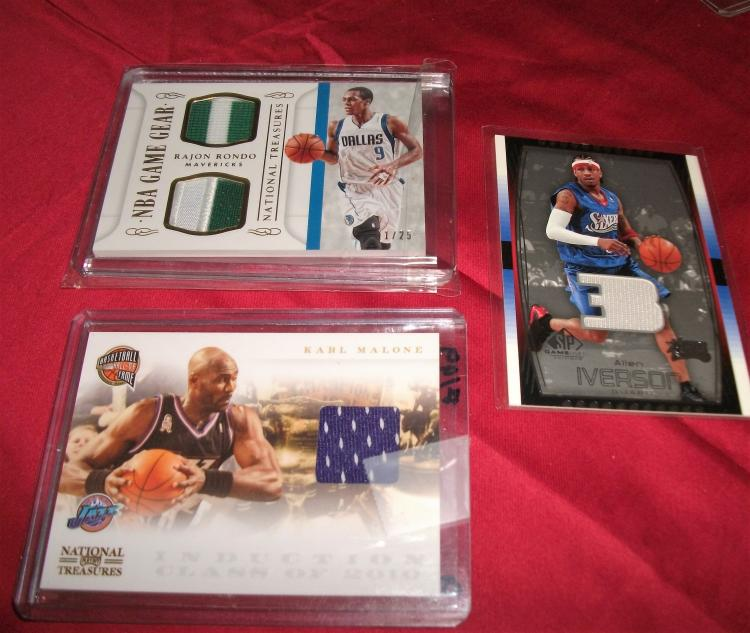 Lot of 3 Nice Patch NBA Trading Cards! Allen Iverson HOF, Karl Malone HOF, & Rajon Rondo. GREAT NBA Set!