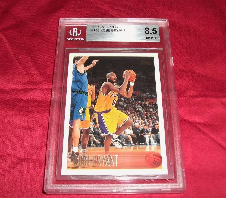 1996-97 Kobe Bryant #138 Rookie (RC) Topps Trading Card, Graded 8.5 NM-MT+ BECKETT. NBA Basketball Star.