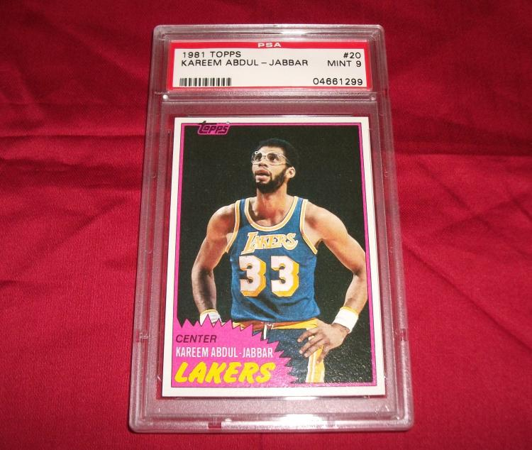 1981 KAREEM ABDUL JABBAR HOF TOPPS #20 NBA TRADING CARD, GRADED PSA 9 MINT. Basketball Star