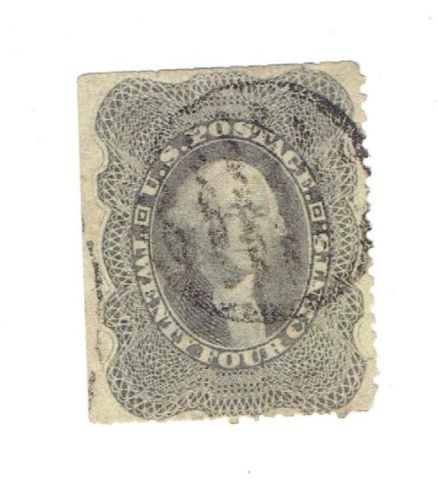 US Stamp Scott# 37A Washington 24 Cents, Used, Good, Cat. Value $300 to $400. Date 1857