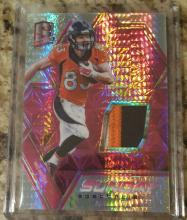 2016 Spectra Wes Welker Sunday Spectacle Game Used Patch Neon Pink #8/10 Denver Broncos NFL All-Star Player