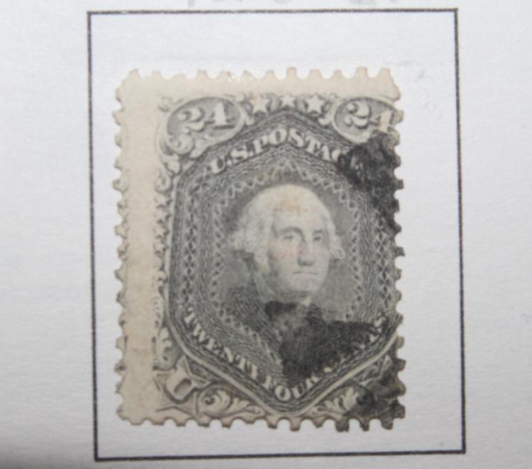 US STAMP SCOTT# 78B, WASHINGTON 24 CENTS, USED. CAT.  VALUE $300-350. DATE 1861-66