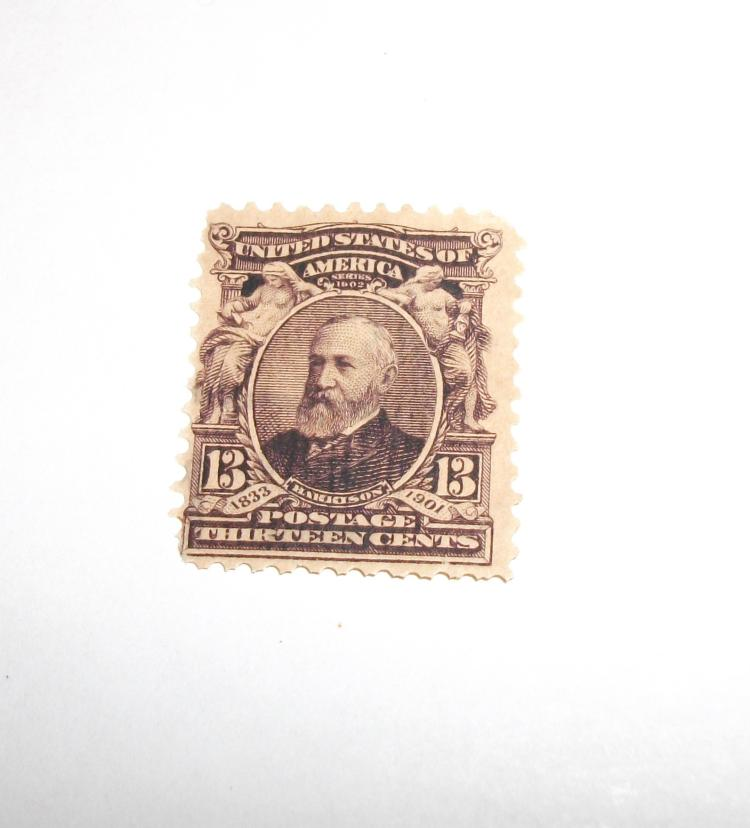 US STAMP SCOTT# 308 BENJAMIN HARRISON, 13 CENTS, UNUSED/MINT CAT. VALUE $30-40. DATE 1902-03.