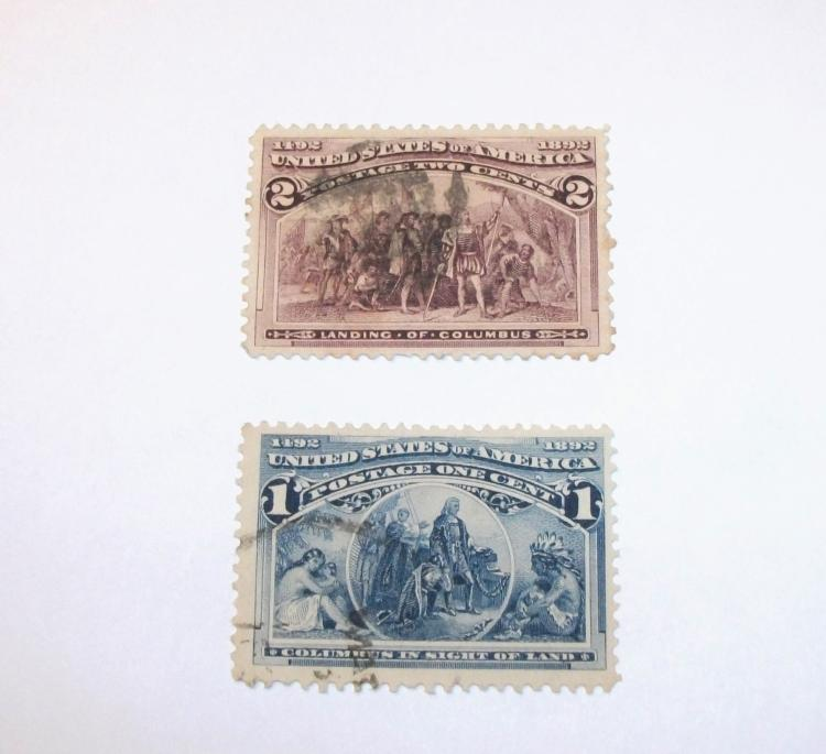US STAMPS SCOTT#S 230 & 231 COLOMBIAN EXPO USED 1 AND 2 CENTS (LOT OF 2). DATE 1893