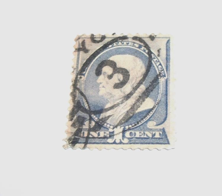US STAMP SCOTT# 212, BEN FRANKLIN 1 CENT, USED. DATE 1887