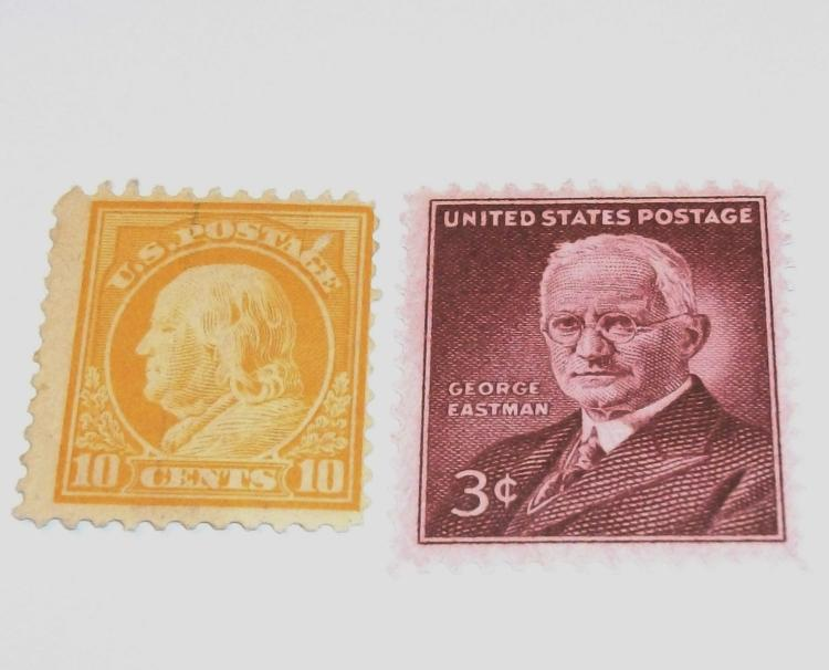 US STAMPS SCOTT#S 510 & 1062, BEN FRANKLIN 10 CENTS (UNUSED), GEORGE EASTMAN 3 CENTS (MINT MNH). LOT OF 2.