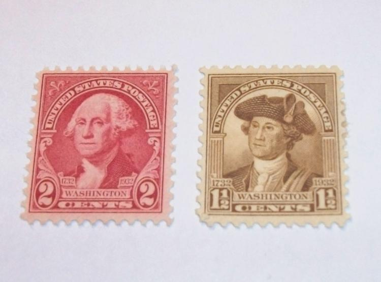 US STAMPS SCOTT#S 706 & 707, WASHINGTON 1 1/2 & 2 CENTS, MNH, MINT. DATE 1932, NEVER HINGED.
