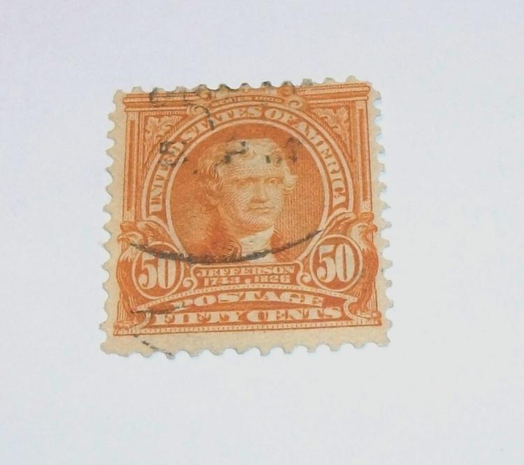 US STAMP SCOTT# 310 THOMAS JEFFERSON 50 CENTS, USED, CAT. VALUE $30-$37.50. DATE 1902