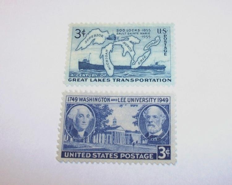 US STAMPS SCOTT#S 982 & 1069, SOO LOCKS & WASHINGTON LEE UNIVERSITY, BOTH 3 CENTS, MNH, MINT. DATES 1949-1955. NEVER HINGED.