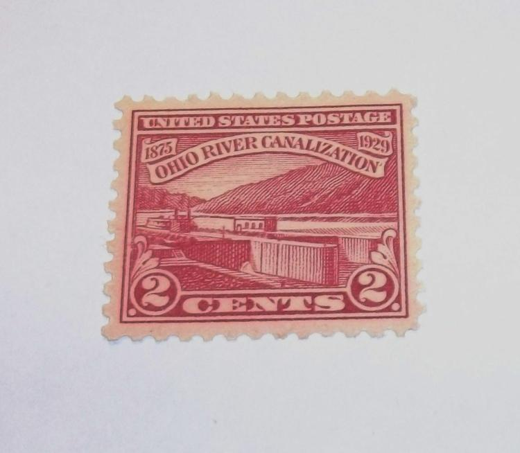 US STAMP SCOTT# 681, OHIO RIVER CANALIZATION, 2 CENTS, MINT MNH, NEVER HINGED. DATE 1929