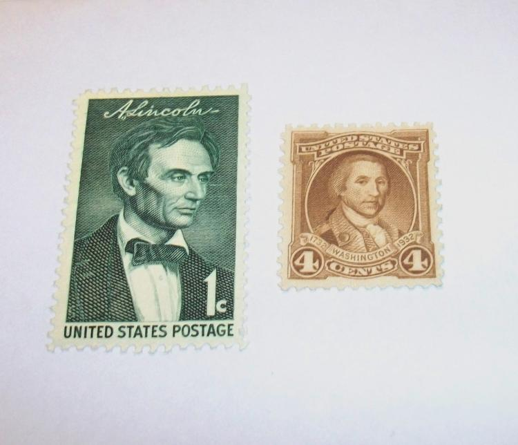 US STAMPS SCOTT#S 709 & 1113, WASHINGTON 4 CENTS, LINCOLN 1 CENT, BOTH MINT, MNH, NEVER HINGED. DATE 1932 & 1958