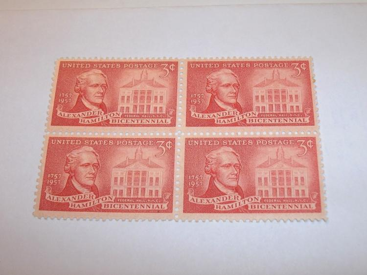 US STAMPS SCOTT# 1086, ALEXANDER HAMILTON, PLATE BLOCK OF 4, 3 CENTS, MINT (MNH). DATE 1957. NICE