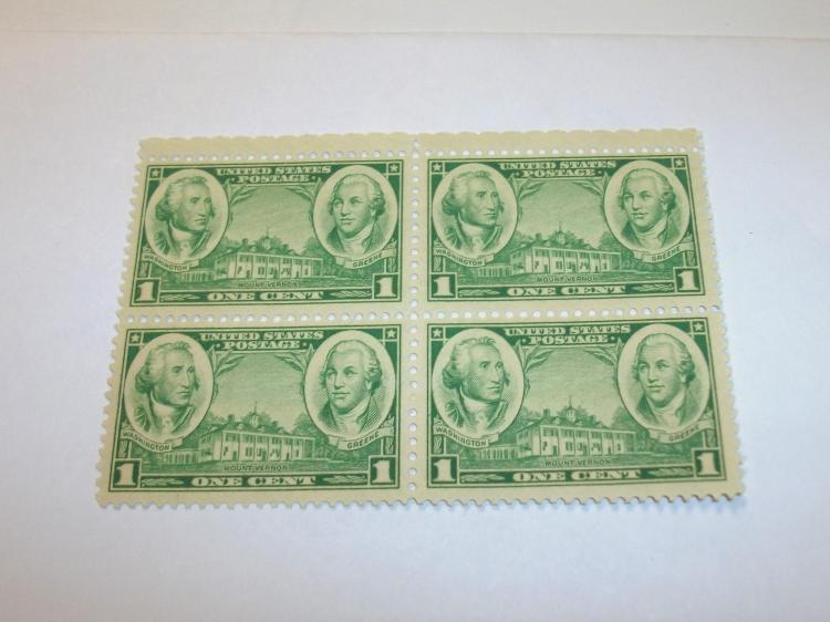 US STAMPS SCOTT# 785, MT. VERNON, WASHINGTON & GREEN, PLATE BLOCK OF 4, 1 CENT, MINT (MNH). DATE 1936-37. NICE