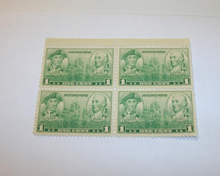 US STAMPS SCOTT# 790, JONES & BARRY, PLATE BLOCK OF 4, 1 CENT, MINT (MNH). DATE 1936-37.