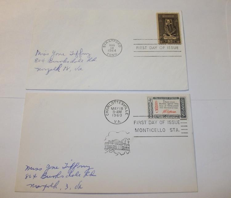 US STAMP FDC COVERS SCOTT#S 1260 & 1141. SHAKESPEARE 400th BIRTHDAY ISSUE, JEFFERSON MONTICELLO. VERY FINE/NEAR-MINT. (LOT OF 2)