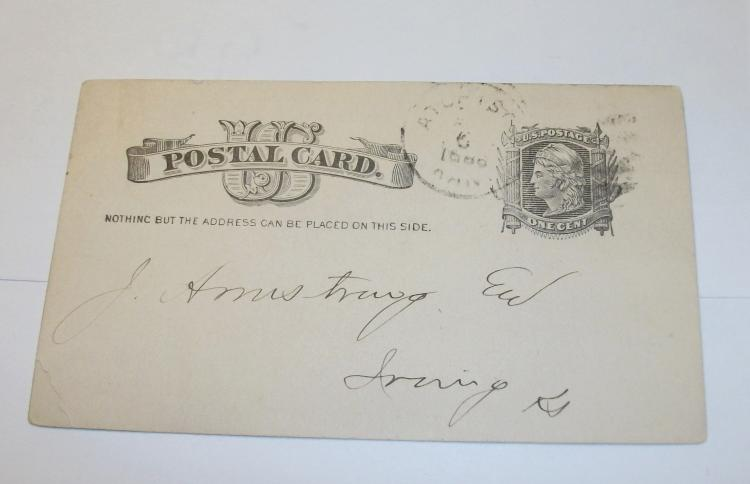 US STAMP SCOTT# UX5, VINTAGE POSTCARD, FIRST NATIONAL BANK, ATCHISON, KANSAS, REMITTANCE 04/05/1886. USED.