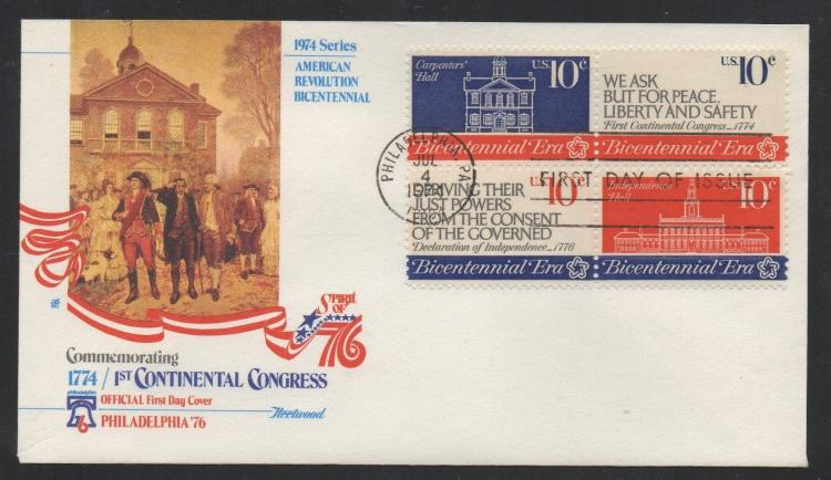 US Stamps Scott#s 1543, 1544, 1545, 1546 Continental Congress 07/04/1974 FDC Cover.