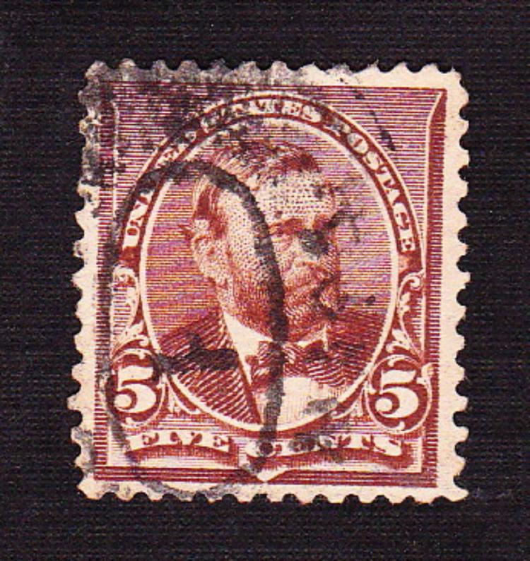 US Stamp Scott# 223, President Grant 5 Cents, Used, Chocolate. Date 1890-93.