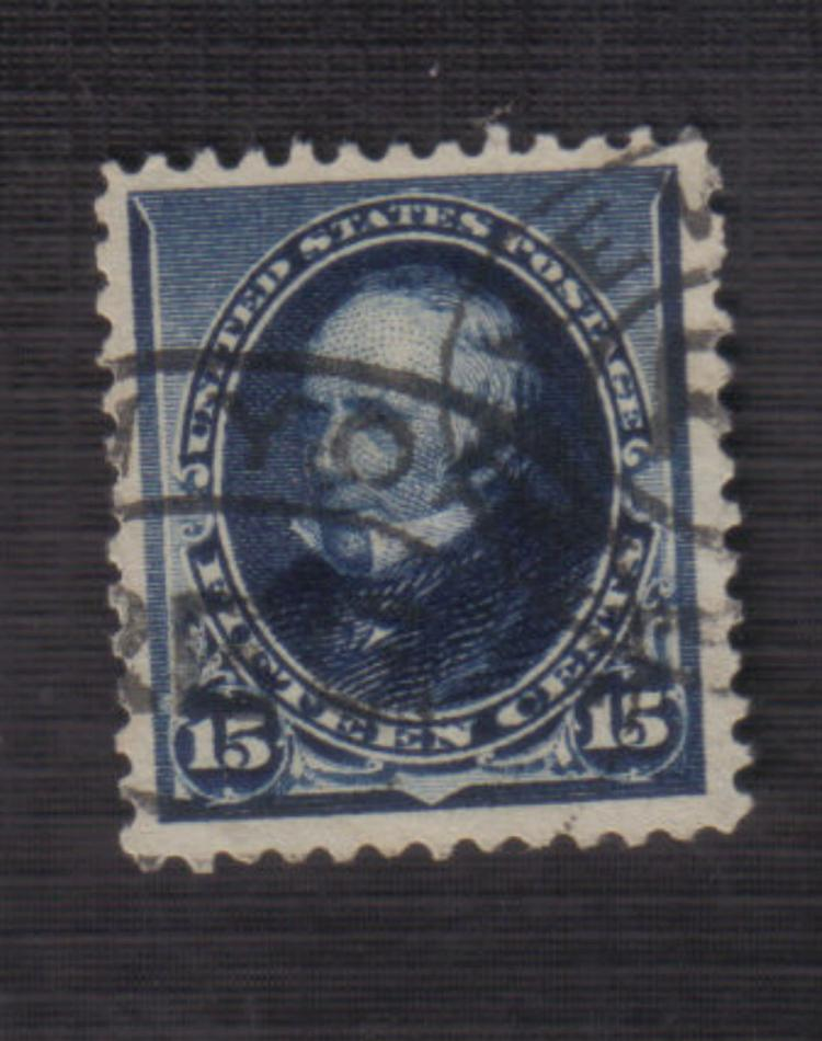 US Stamp Scott# 227 Clay, 15 Cents Used (Indigo) Cat. Value $25 to $27.50. Date 1890-93.