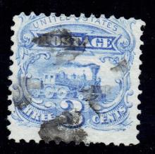 US Stamp Scott# 114 Locomotive 3 Cents Used, Cat. Value $16 to $18. Date 1869