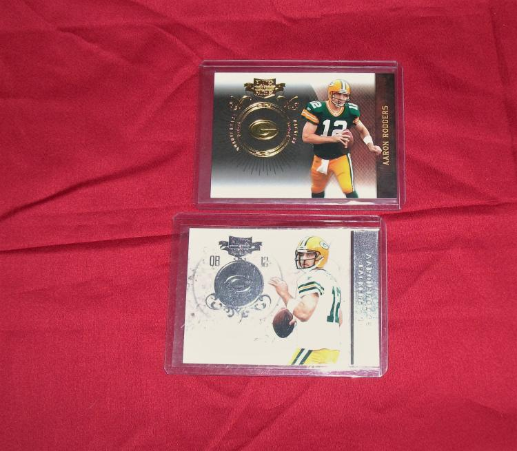 2010 2011 Aaron Rogers (Lot of 2) NFL Trading Panini Plates & Patches Cards Low #15/50 and #92/100.