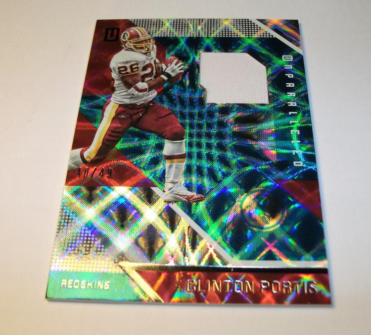 2016 CLINTON PORTIS  UNPARALLELED REFRACTOR GAME USED PATCH NFL TRADING CARD #40/49 BY PANINI