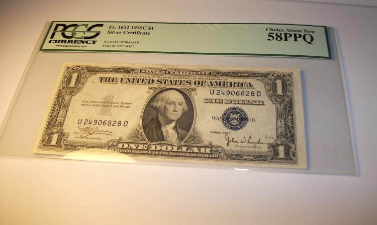1935 C SERIES $1 SILVER CERTIFICATE FR# 1612, GRADED PCGS CHOICE ABOUT NEW 58PPQ
