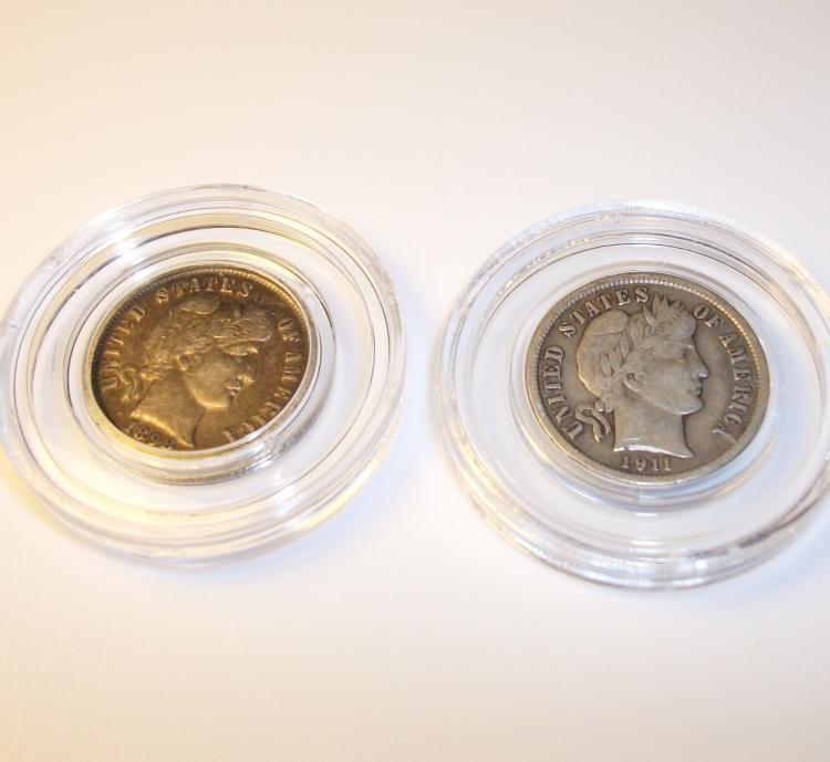 1898 & 1911 BARBER DIMES (2) TEN CENTS, VG/FINE CONDITION