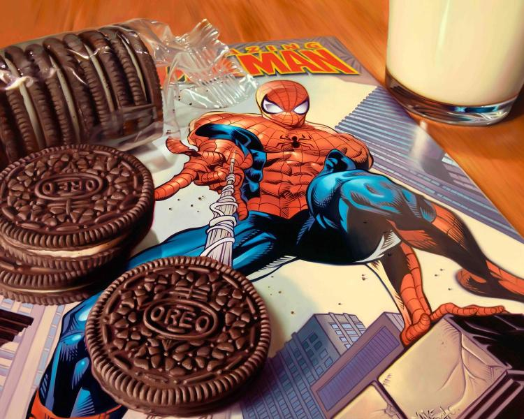 Spiderman Webbing Oreo Cookies Action Photorealism Artwork, Limited Edition by Doug Bloodworth.