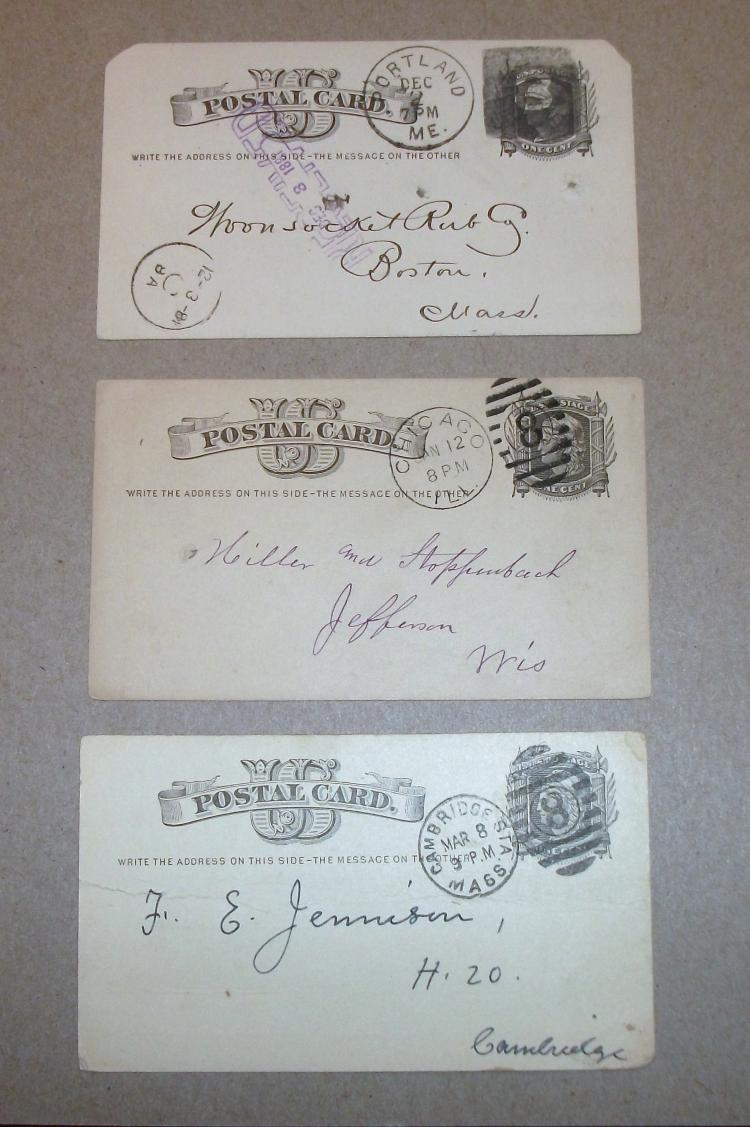 US STAMP SCOTT# UX5, VINTAGE POSTCARDS (LOT OF 3), PORTLAND, ME (DATE 1881); CHICAGO, IL (DATES 1878); CAMBRIDGE, MASS (DATE 1887) USED.