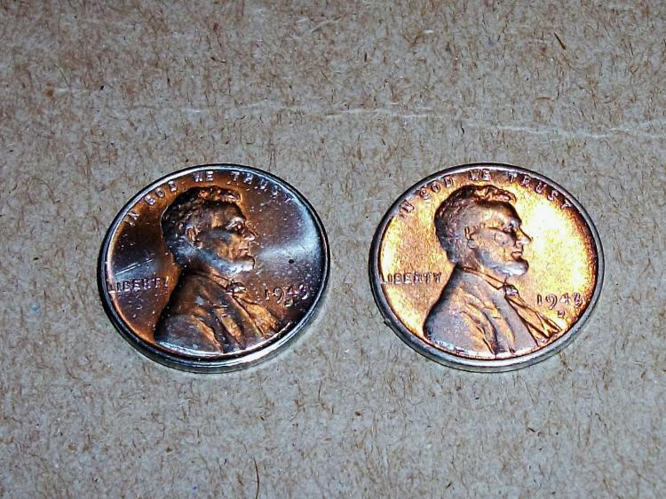 US COINS 1943 S STEEL WHEAT PENNY ONE CENT UNC & 1943 D STEEL WHEAT ONE CENT PENNY XF. (LOT OF 2)
