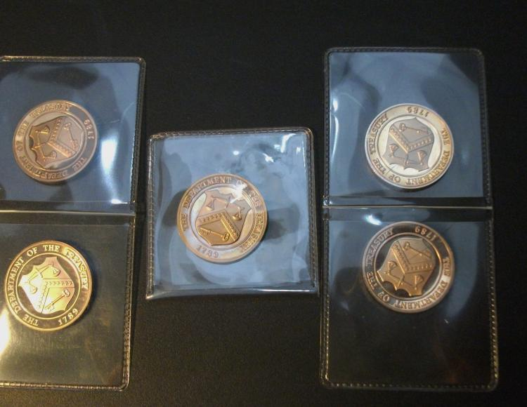 1982 PROOF SET US TREASURY COPPER TOKENS! RARE! NICE (LOT OF 5). SEE ALL PHOTOS!