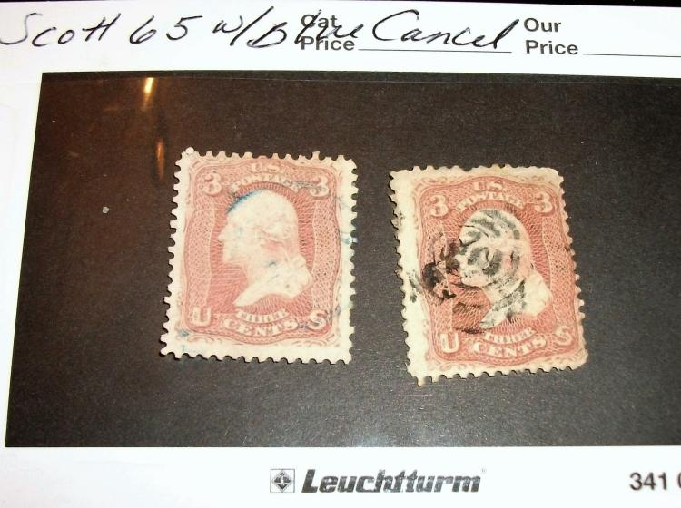 US STAMP SCOTT# 65 WASHINGTON 3 CENTS, USED (LOT OF 2).