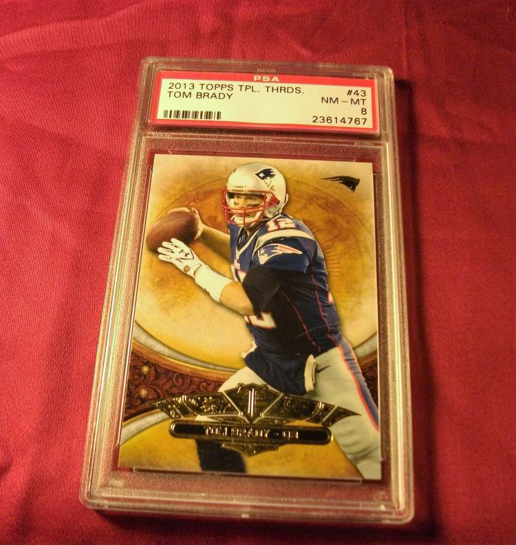 2013 TOM BRADY TOPPS #43 TRIPLE THREADS NFL TRADING CARD, GRADED PSA NM-MT 8. PRO FOOTBALL