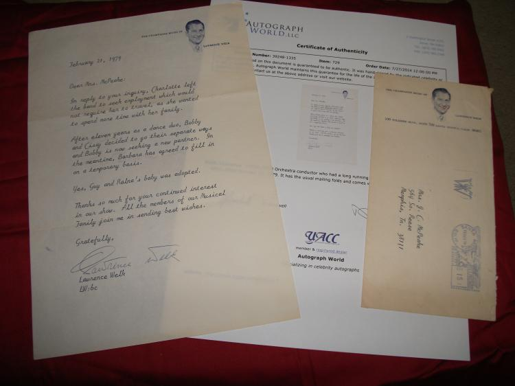 Lawrence Welk Signed Fan Letter Orchestra Conductor for Lawrence Welk TV Show.