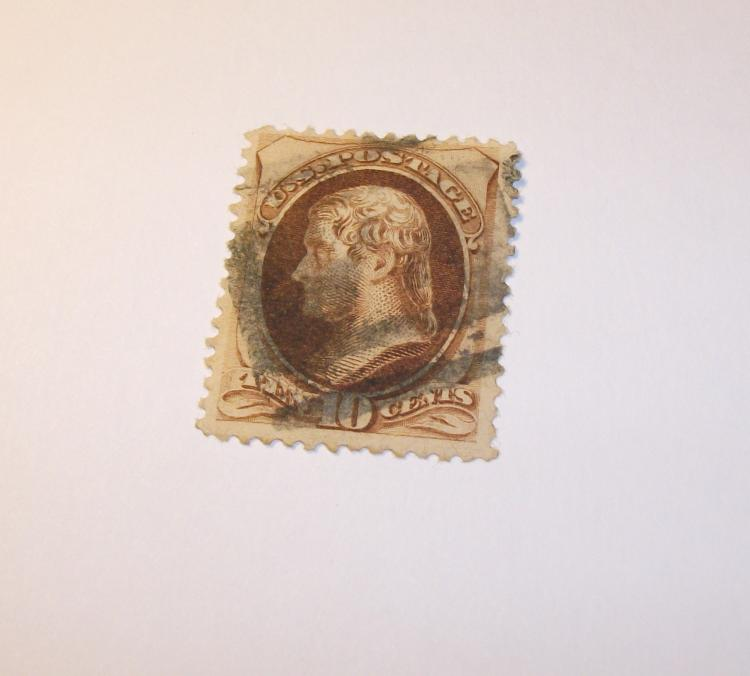 US STAMP SCOTT# 150 JEFFERSON (139 BROWN) 10 CENTS, USED. DATE 1870-71. CAT. VALUE $25 TO $35.