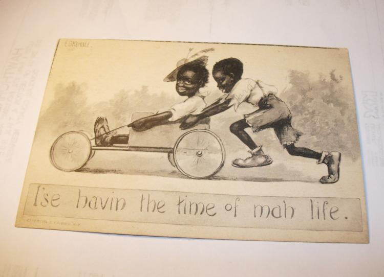 Vintage Black Americana Post Card,  Oct. 1912 Scott# 424 (Used). Very Rare Item.